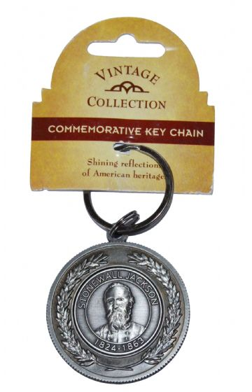 Confederate General Stonewall Jackson Large Circular Pewter Keyring